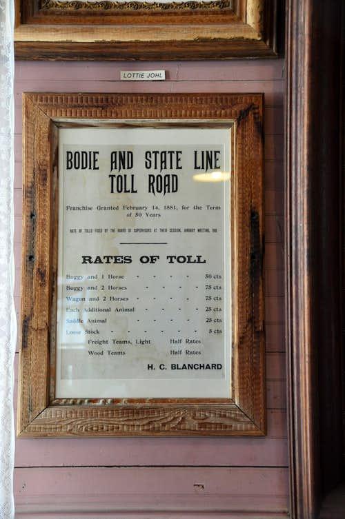 Toll Road fees list