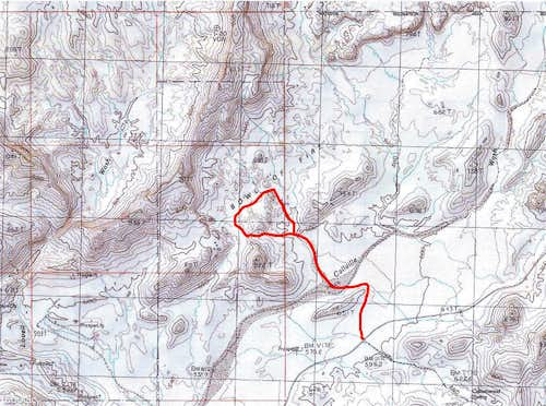 Map of my hike in Bowl of Fire