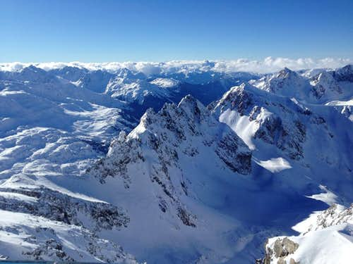 Looking west from the summit of Valluga (2808 m)