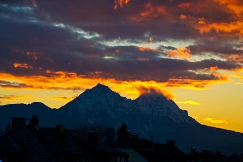 Sunset over Hochstaufen and Zwiesel