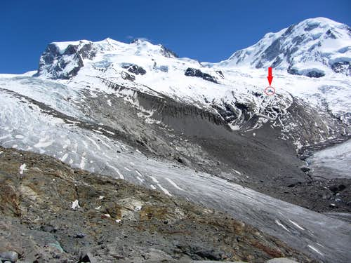 The location of the new Monte Rosa hut