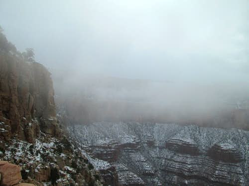 Snow and fog near the top of the South Kaibab Trail, Grand Canyon NP