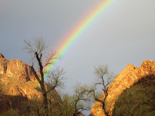 Bright Rainbow seen from Phantom Ranch at the bottom of the Grand Canyon