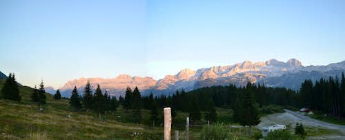 Alpenglow panorama of the Mt. Kanin group - and my trailhead camp