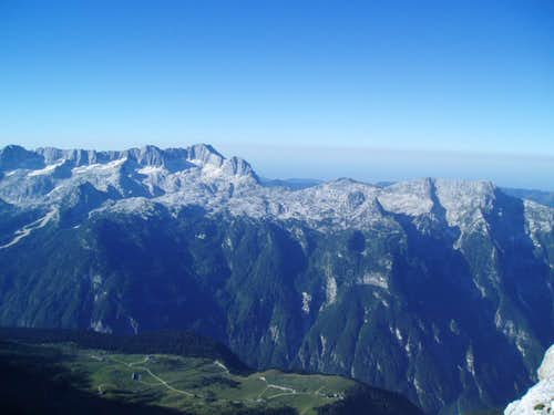View back down on Malga Montasio with the karst plateau of Mt. Kanin on the other side of the valley
