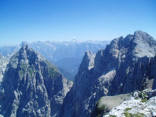 View towards Slovenia from the summit of Foronon. Triglav himself in the center