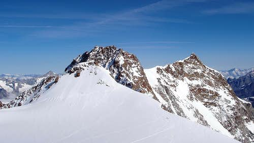 Dufour Spitze and Nordend from Refuge Regina Margherita