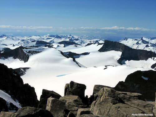 Endless glaciers surrounding Galdhøpiggen summit