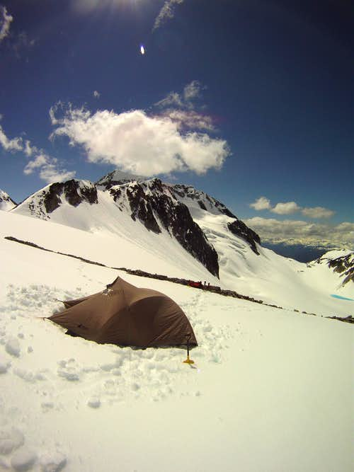 Camp below the NE Arete with Wedge in the background