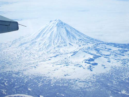 We were excited to see our first Kamchatka volcano from the airplane!