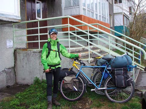 Start of our bike tour in Kamchatka. Note the mountaineering axe.