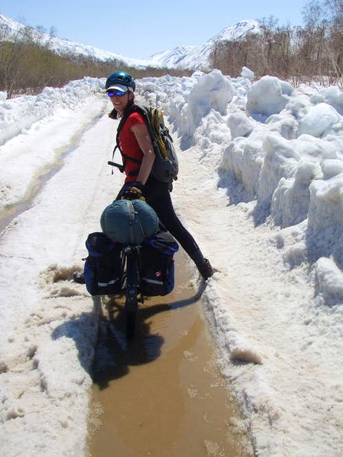 We looked silly riding in slush, South of Termalny.