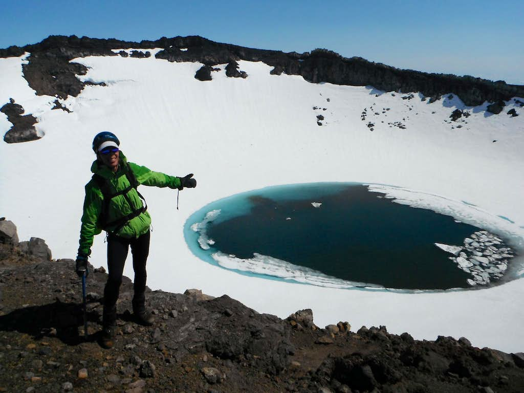 One of the craters on Gorely volcano.