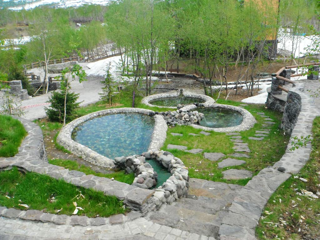 Elegant thermal pools at the lodge at Snow Valley.
