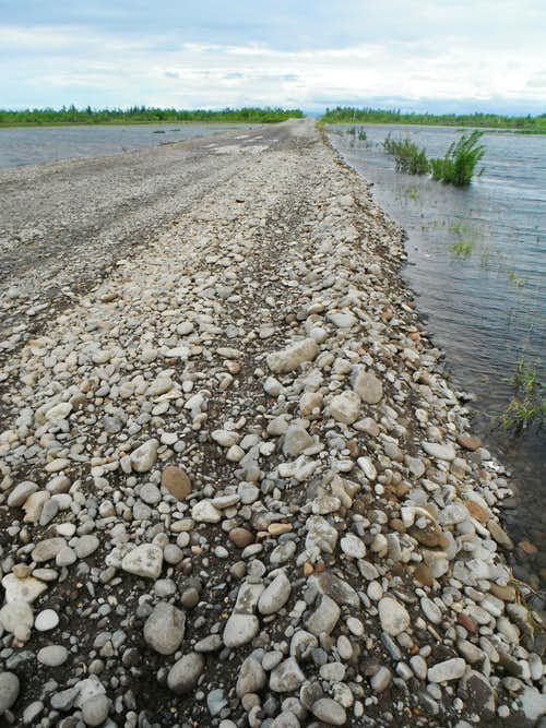 Road after flooding repairs, South of Kozyrevsk.