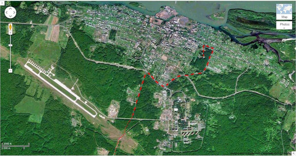 Our route from the volcanologists' guesthouse and out of Klyuchi.