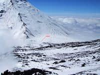 Mountaineers' hut at the col, 3200m (10,500ft) between Klyuchevskaya and Kamen volcanoes.
