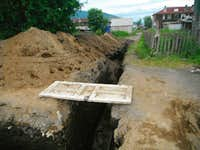 Water pipe construction in Klyuchi.