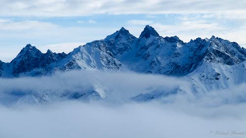 Gsallkopf (3277m) and Rofelewand (3354m) above the Clouds