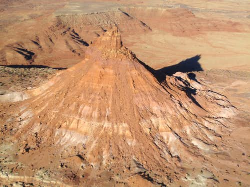 The South Six Shooter seen from the air, Indian Creek, Utah
