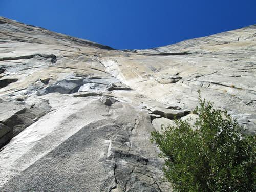The 1st pitch of Pacific Ocean Wall on El Capitan, Yosemite National Park