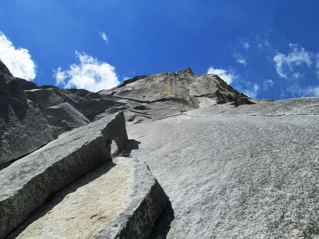 Looking up from the first pitch of the South Face of Washington Column, Yosemite National Park