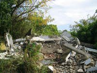 View of building ruins on Cerro 500 summit