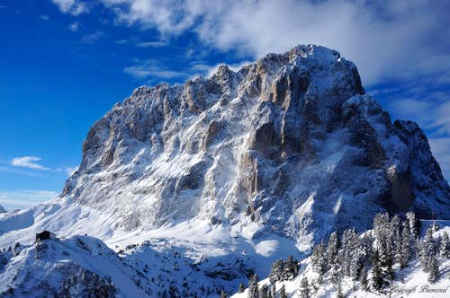 The mighty Sassolungo East Face (10436 ft / 3181 m)