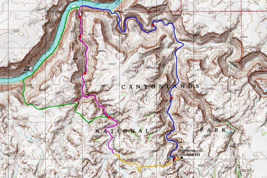 Lower Elephant Canyon Map