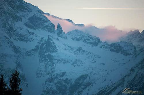 Evening scene with Zadni Mnich peak