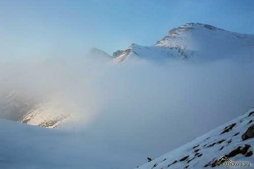 Hlupy Vrch in evening mist