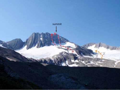 Approaches and route on NW face