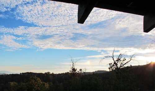 Viewing the sundog from our cabin