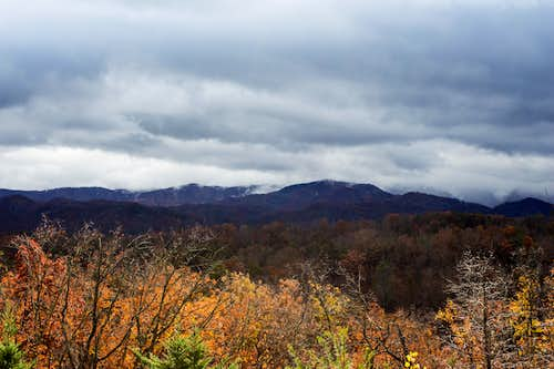 Dark clouds moving along Mt. LeConte