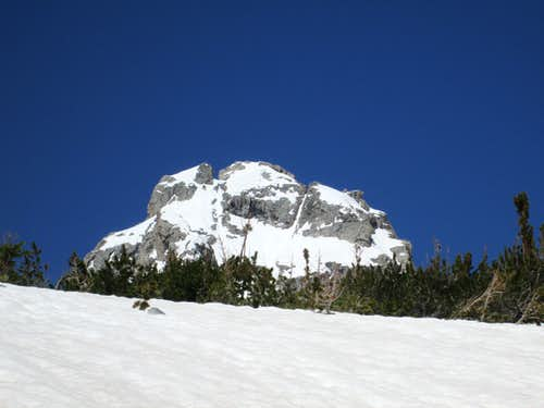 The top of the Middle Teton seen on the descent from Disappointment Peak, Teton Range