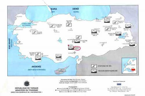 map of Turkey with the Ala...
