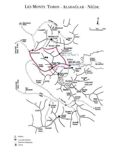map of the Ala Dagri mountain...