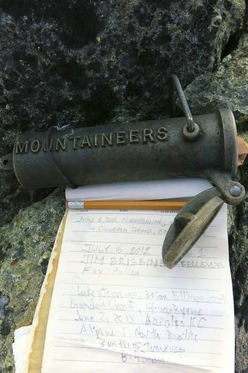 Summit Register at the Brothers North Summit