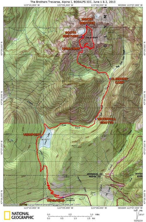 The Brothers Traverse Route