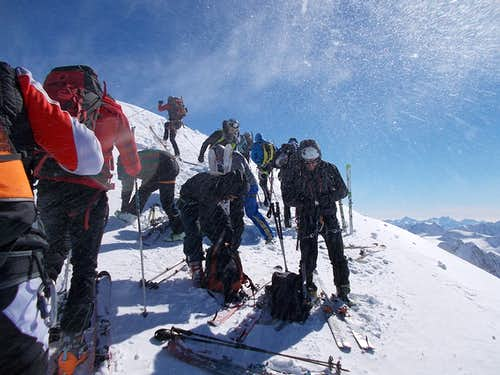 Ski mountaineers at the summit
