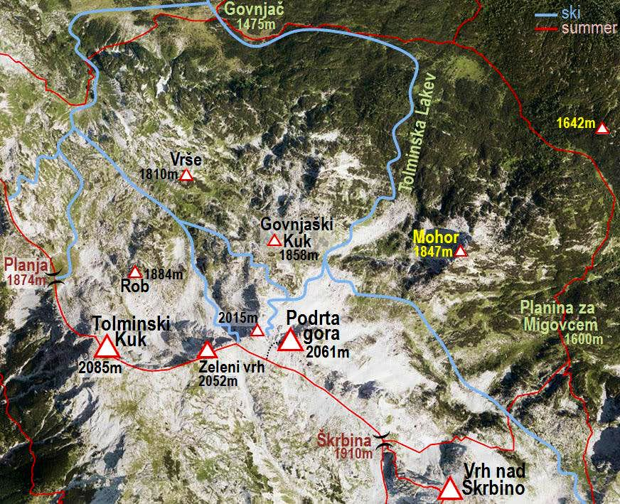 Podrta gora and its ski tours