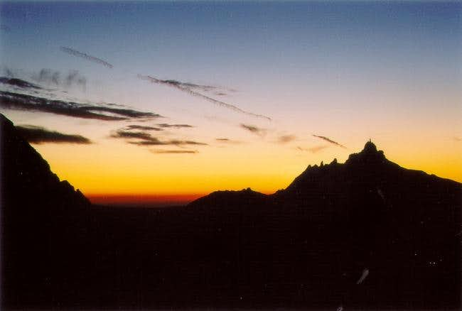 Night arriving on Aiguille...