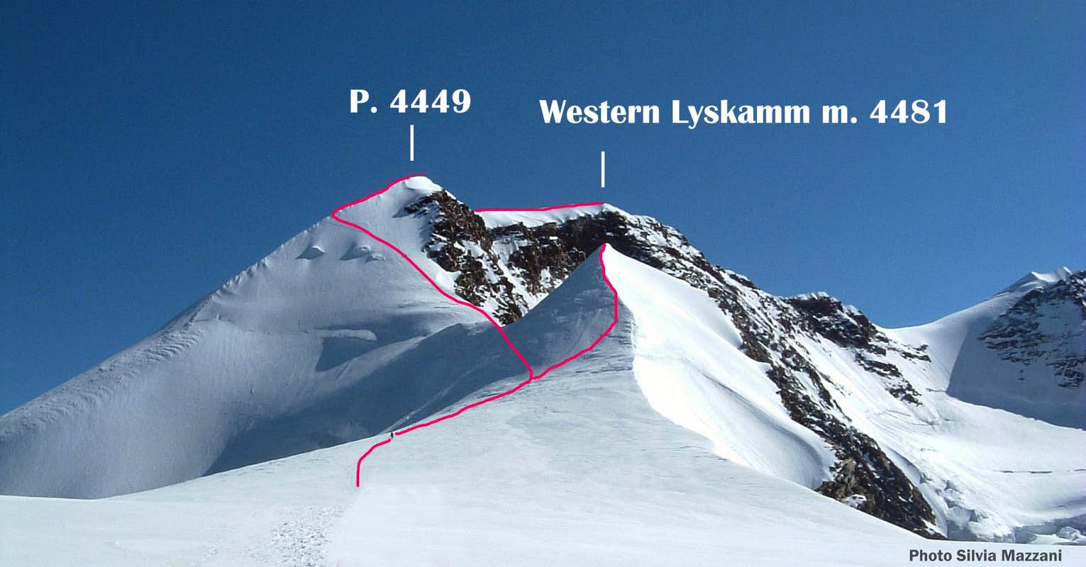 Western Lyskamm Normal Route topo
