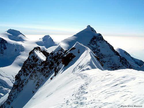 Western Lyskamm summit view over Eastern Lyskamm