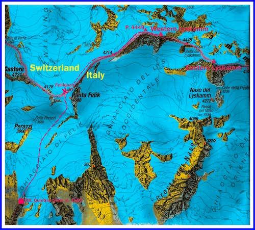 Western Lyskamm map