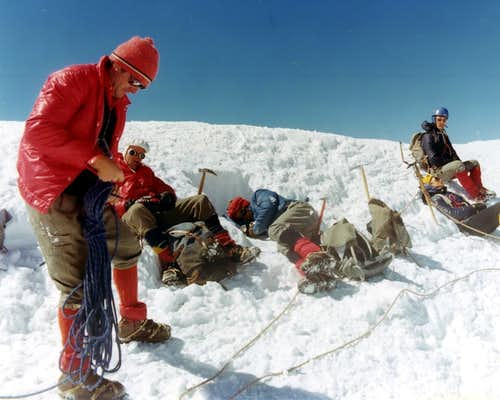 Arriving on Mount Blanc Summit after Traverse 1974