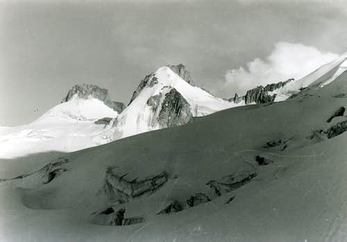 Crossing South/North on Giant Glacier to Col Midi 1972