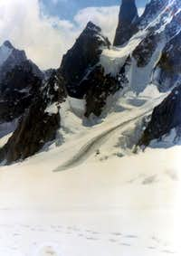 Below Mont Blanc deTacul & Satellites to Midi Pass 1972