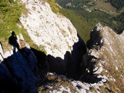 Shadows climbing Pizzo Badile...