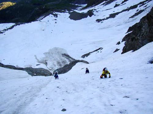 climbing the couloir of the...